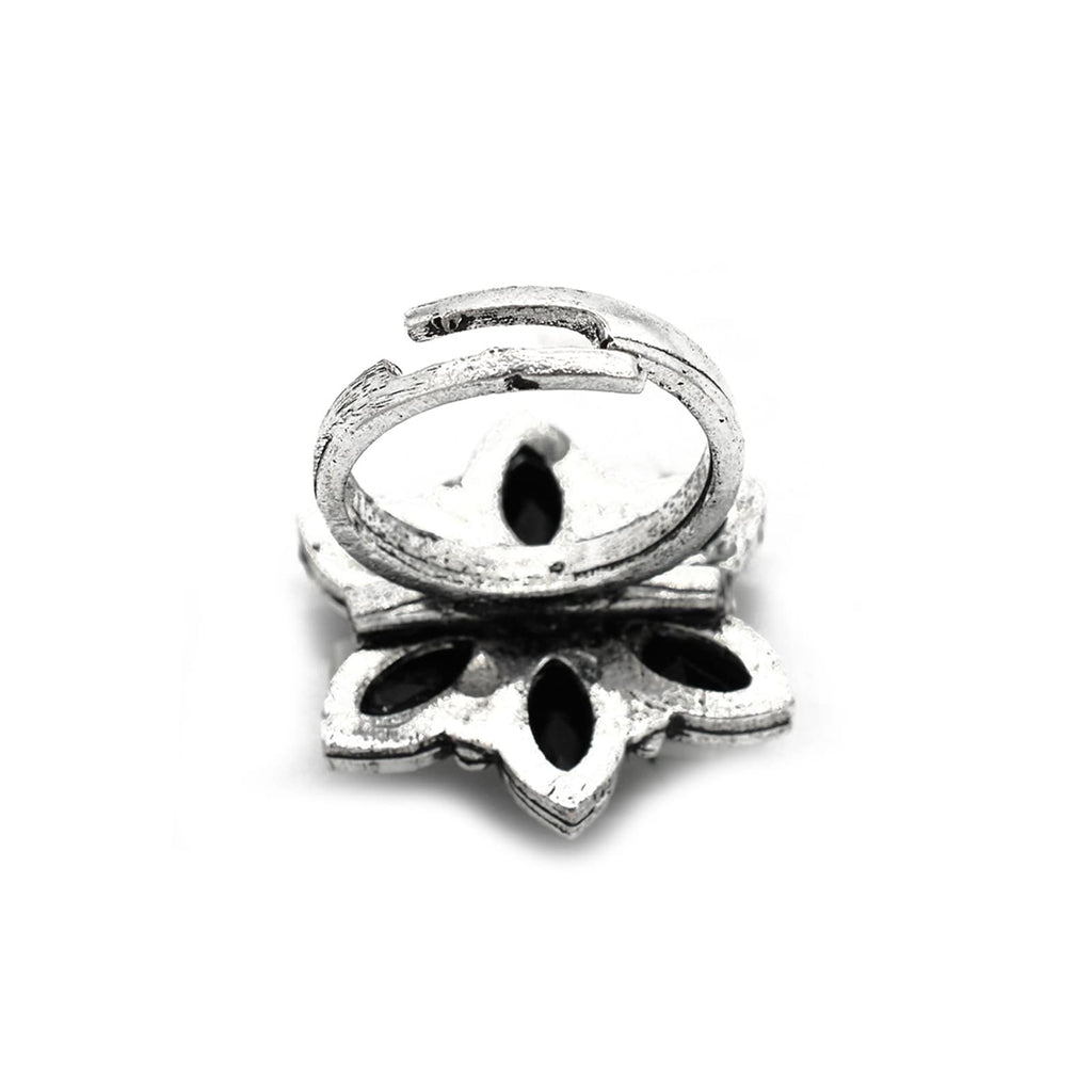 Ageless Black Stone Silver Ring - Joker & Witch