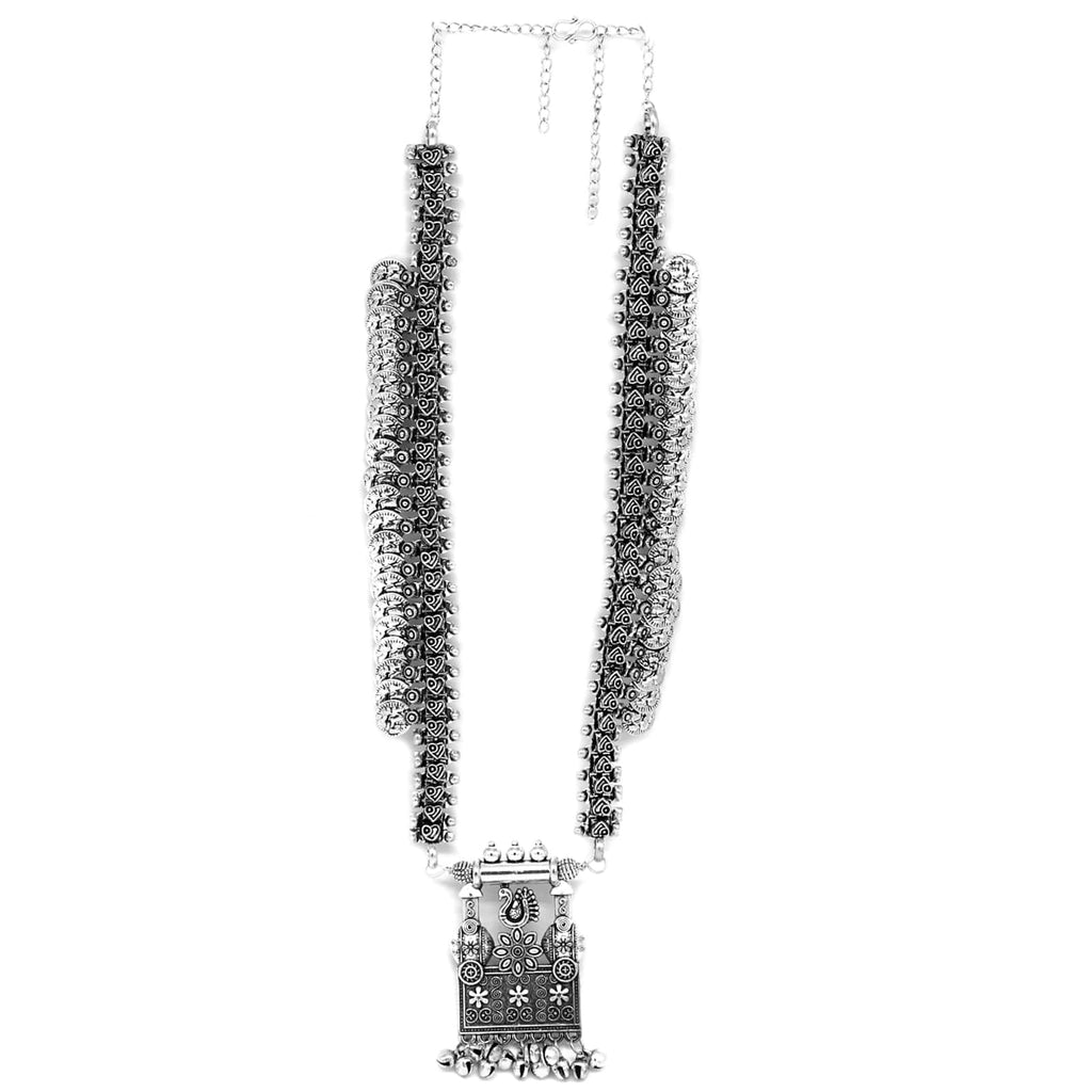 Kaveesha Silver Oxidized Peacock Necklace Set - Joker & Witch