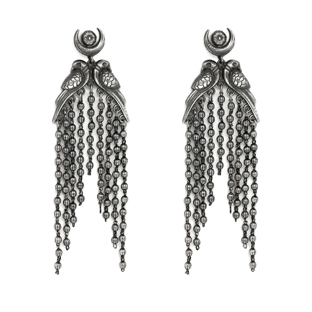 Shatakshi Peacock Silver Oxidized Earrings - Joker & Witch
