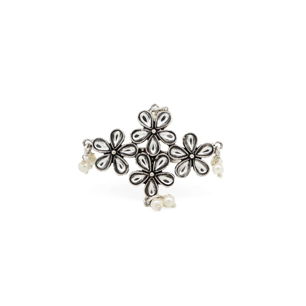Amruta Floral Polki Silver Oxidized Ring - Joker & Witch