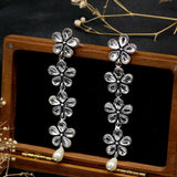 Aathavi Floral Polki Silver Oxidized Earrings - Joker & Witch