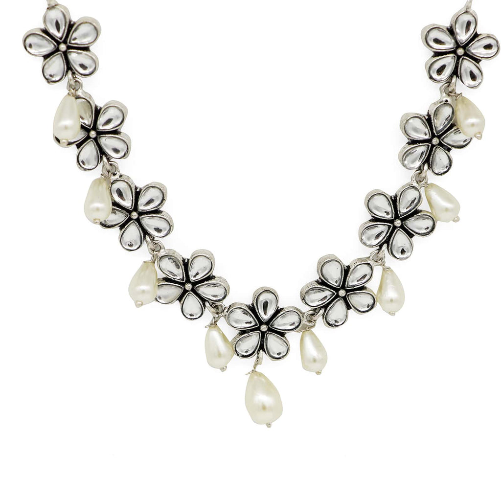 Abhita Floral Polki Silver Oxidized Necklace - Joker & Witch