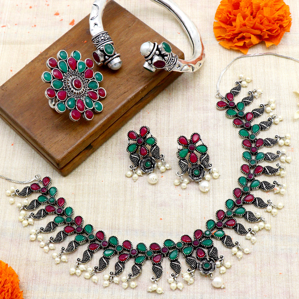 Teejh Mrigna Multicolor Stone Oxidized Silver Jewellery Gift Set - Joker & Witch