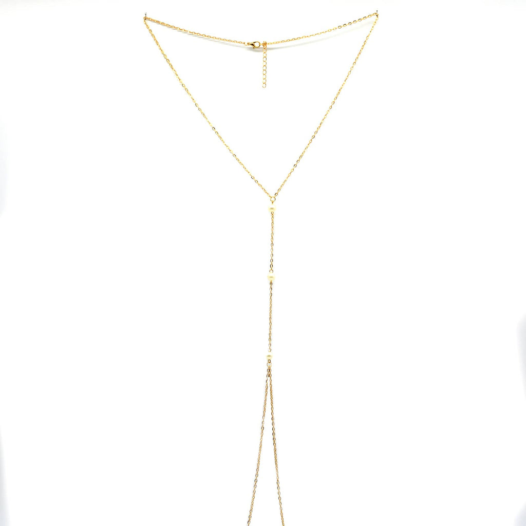 Elegant pearl beaded gold body chain - Joker & Witch
