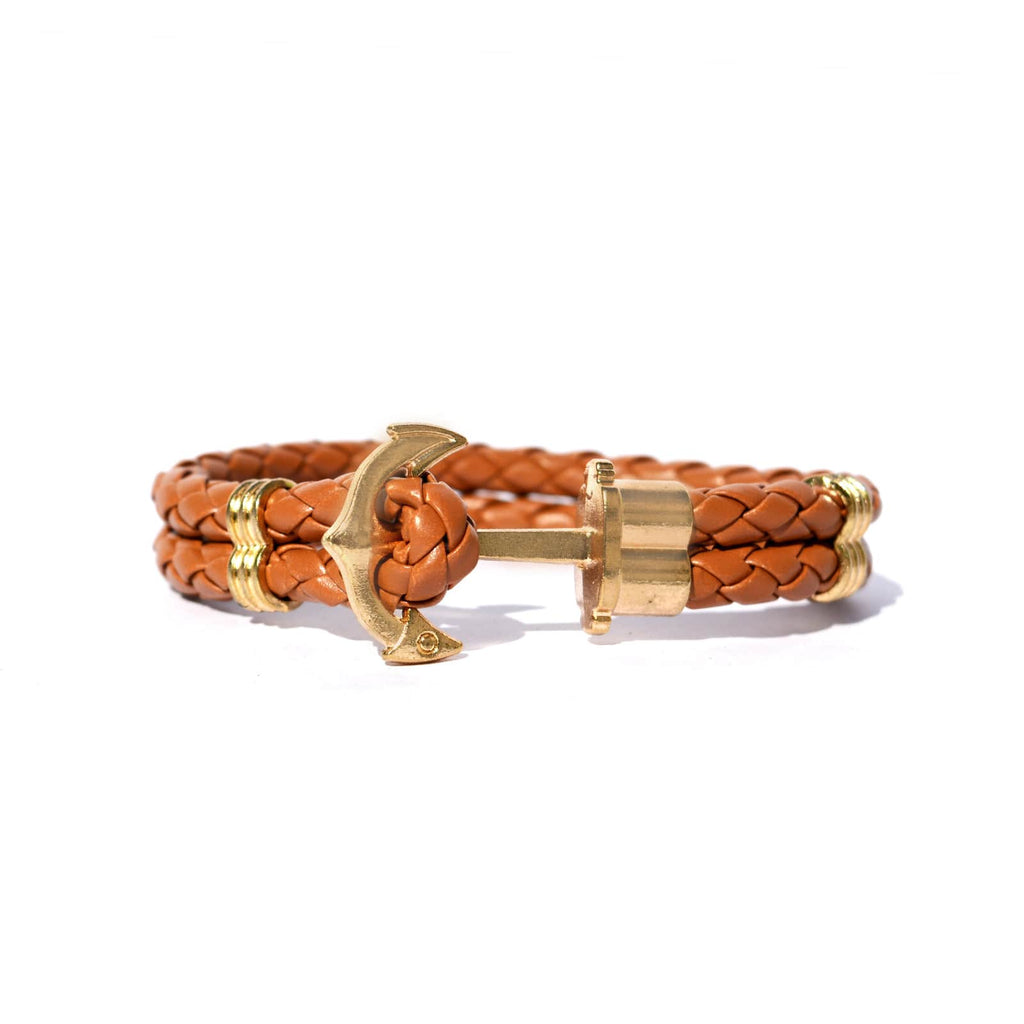 Tan Anchor Braided Bracelet