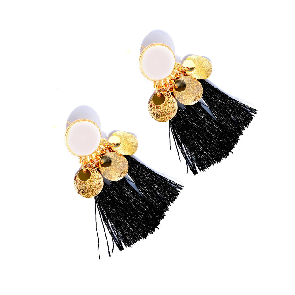 Black Fringe Drop Earrings