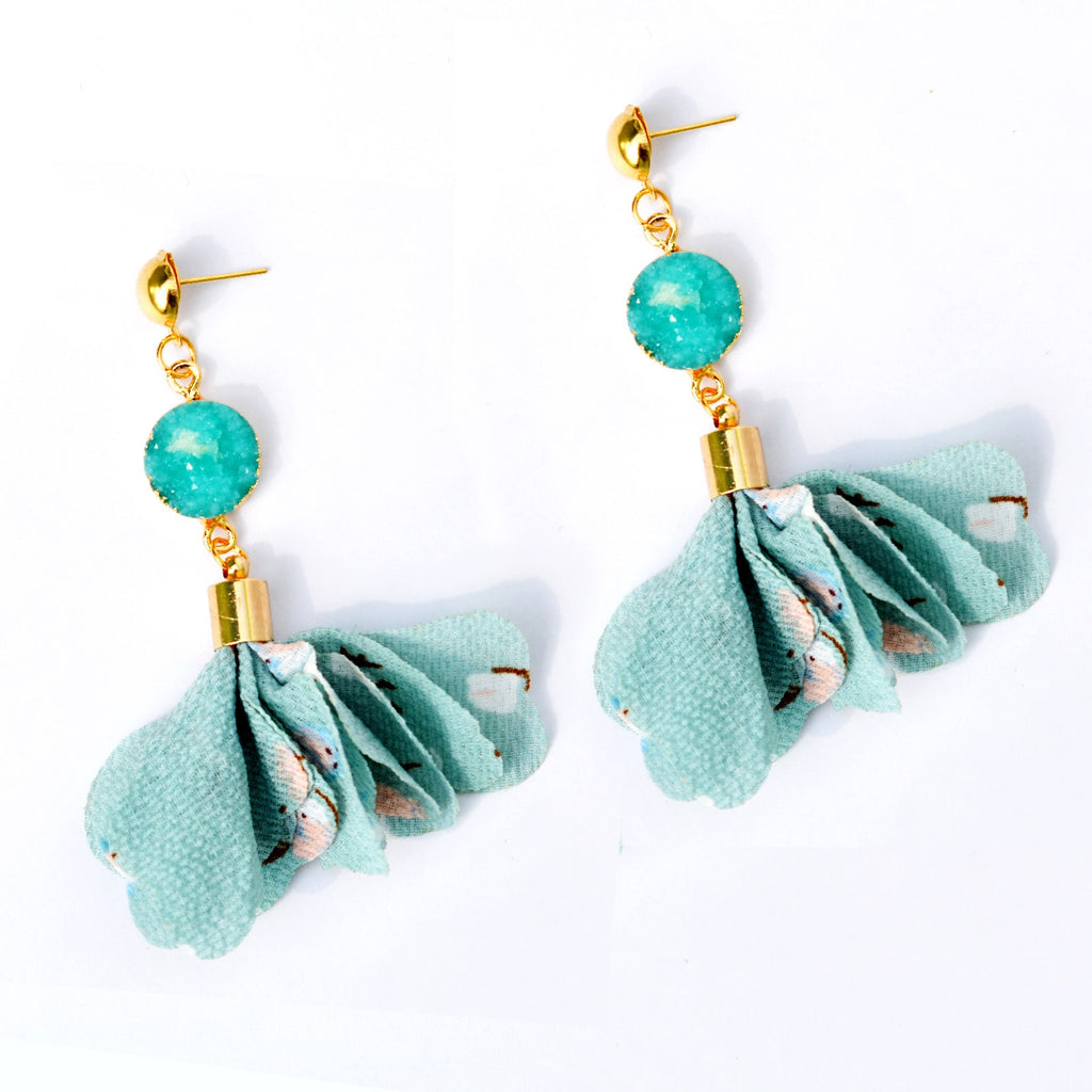 Cherry Blue Crystal Drop Earrings