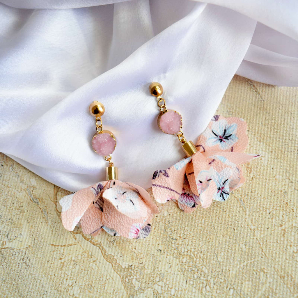 Cherry Blossom Crystal Drop Earrings