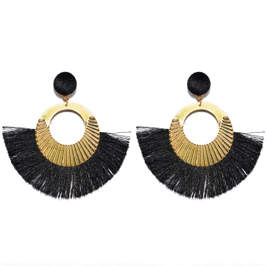 Black Fringe Statement Earrings