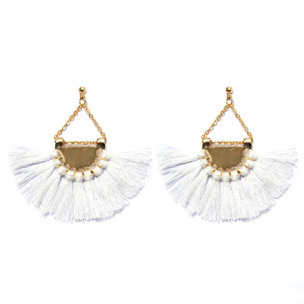 Hammered White Tassel Earrings - Joker & Witch