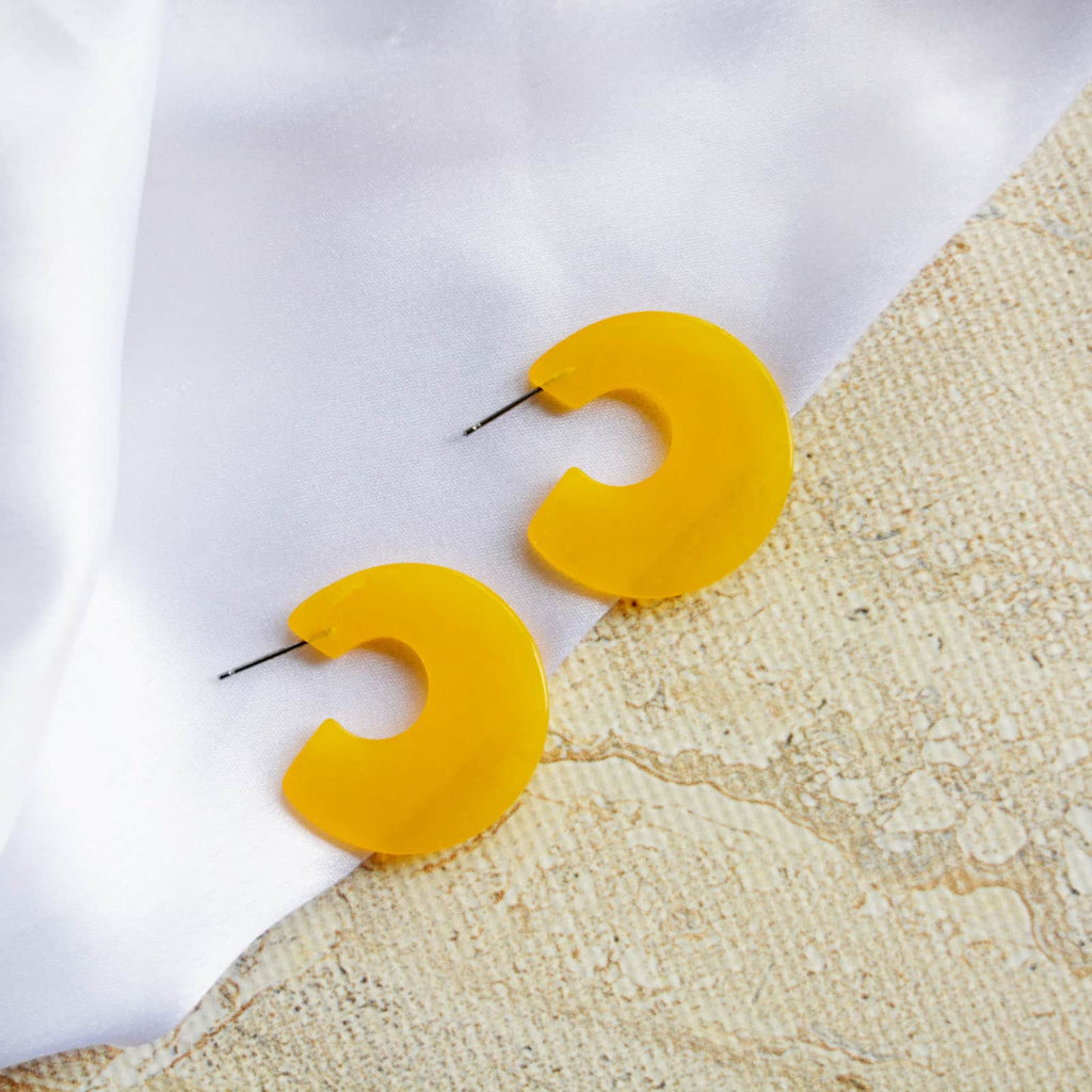 Yellow Resin Hoop Earrings - Joker & Witch