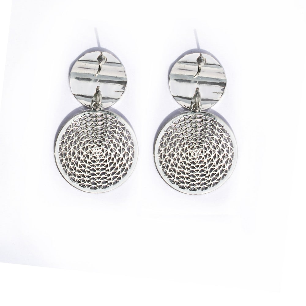 Metallic Silver Filigree Drop Earring