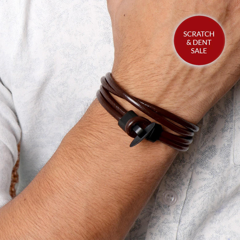 Leo Wrap Around Multi-Strand Brown Men's Bracelet