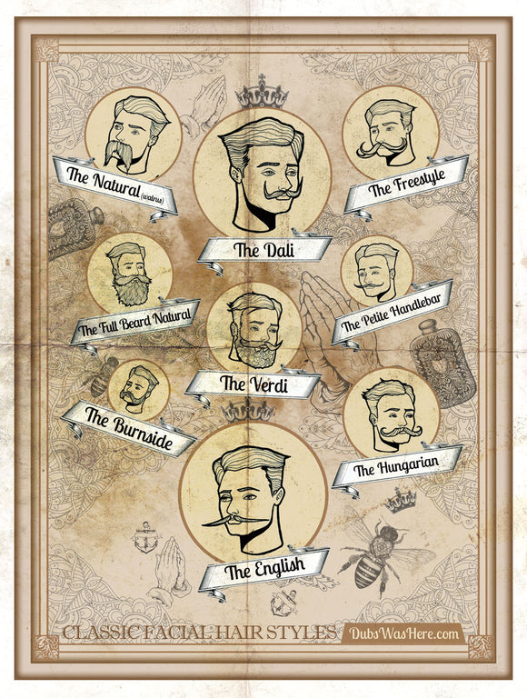Dubs Was Here poster of classic facial hair styles. Handlebar moustache, the Hungarian, The Dali, The Walrus, The Verdi, The Freestyle, Full Beard Natural, The Burnside