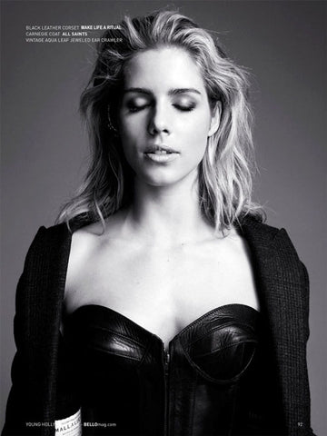 Emily Bett Star of Arrow is Wearing RITUAL Athena Corset