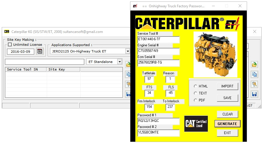 CAT Caterpillar FACTORY PASSWORDS GENERATOR 2008 - For All CAT ET Versions  - All Models Up To 2008