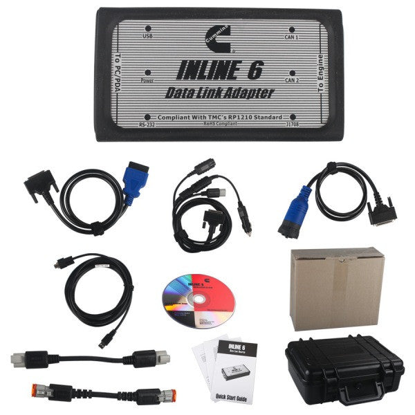 INLINE 6 Data Link Adapter Diagnostic Kit For Cumins - Full 8 Cables Kit & Insite 8.6 Diagnostic Program Latest 2020