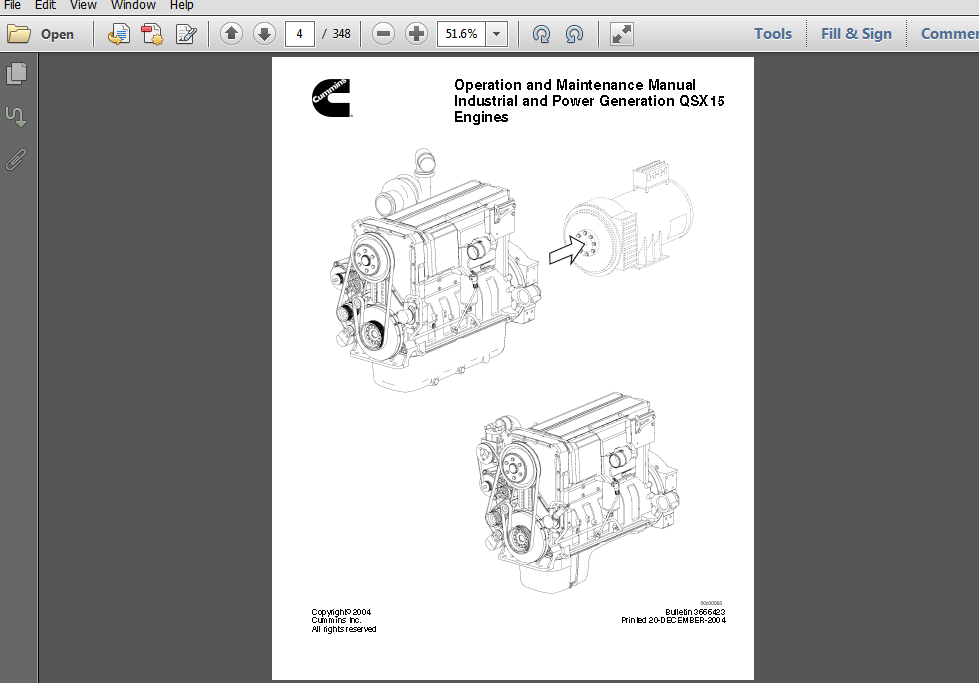 Industrial and Power Generation QSX15 Engines Operation & Maintenance Manual