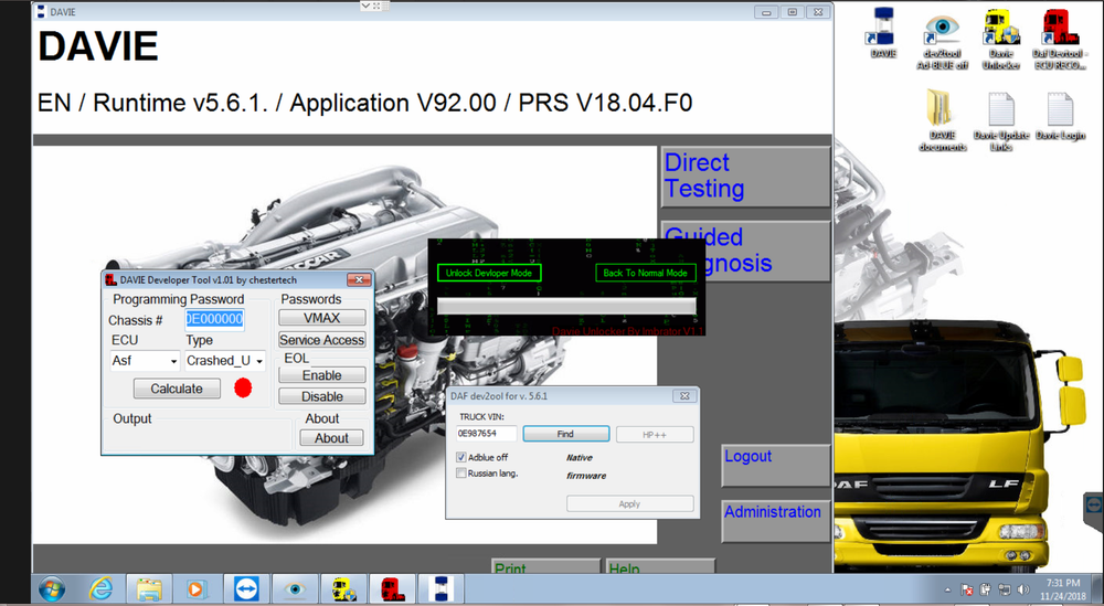 DAF / PACCAR / Peterbilt Diagnostic Laptop Include VCI Interface & Davie XDC Software - Latest 2018 Updated