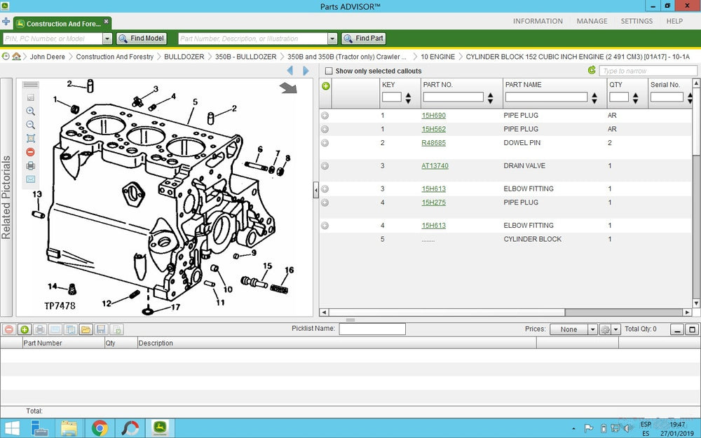 John Deer Parts Advisor 2021 EPC -John Deer & Hitachi Models (CF & AG & CCE ) Parts Manuals Software 2021