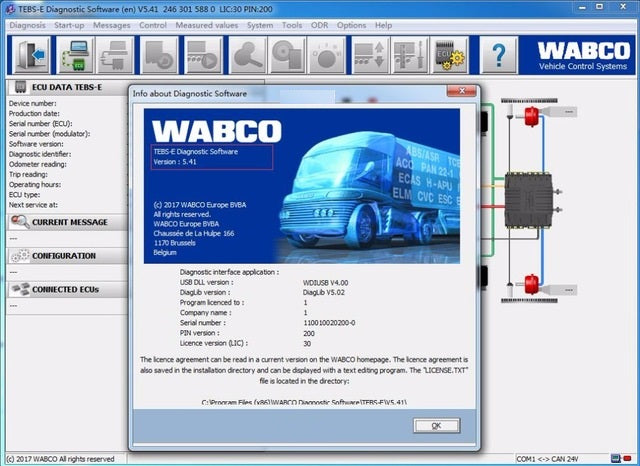 Meritor WABCO TEBS-E v5.41 - ABS And HPB Diagnostics Software Latest 2018 NEW NEW !