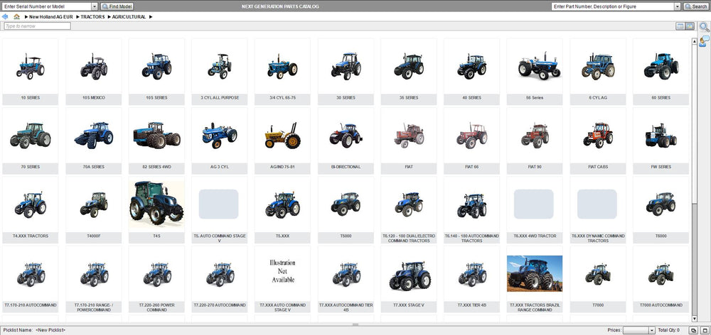 New Holland Next Generation Agricultural AG Europe 2019 EPC -All Models & Serials Up To 2020 Parts Manuals