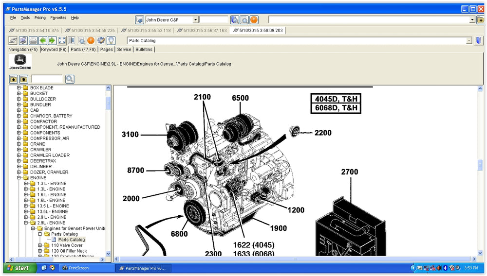 John Deere Parts Manager Pro v6 5 5 EPC -John Deere ALL Models (CF & AG &  CCE )Parts Manuals Software 2016 - Online Installation Service Included !