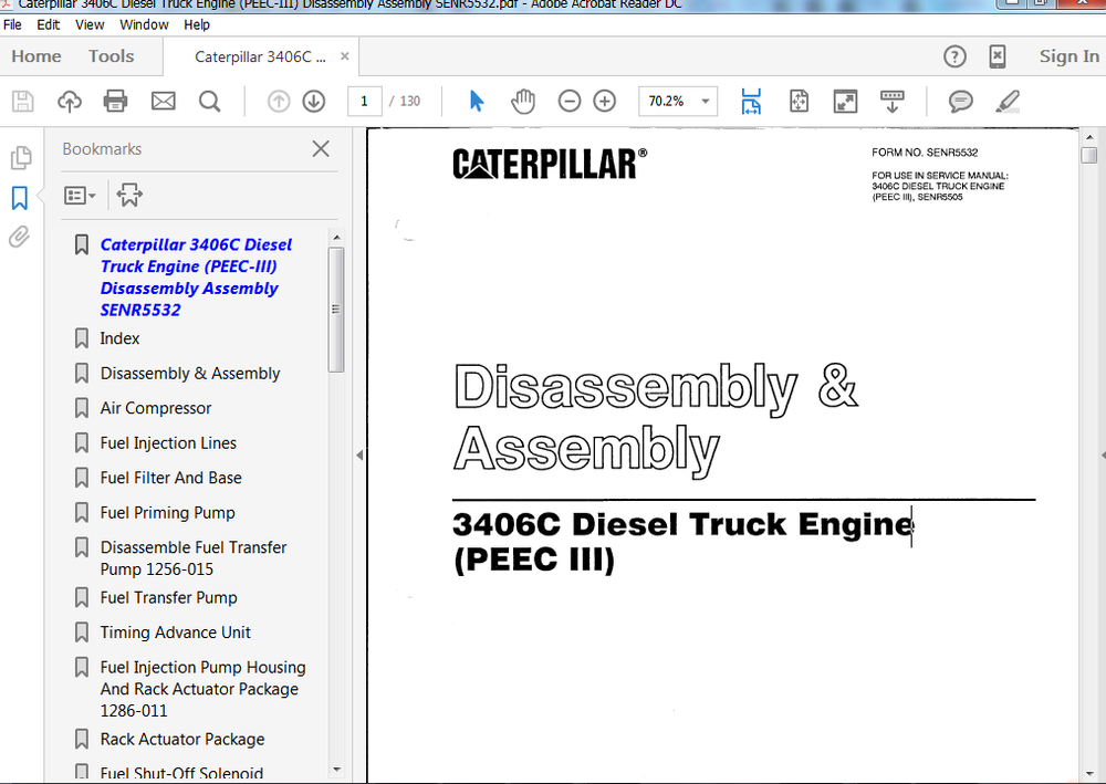 Caterpillar 3406C Diesel Truck Engine (PEEC-III) Disassembly Assembly Manual