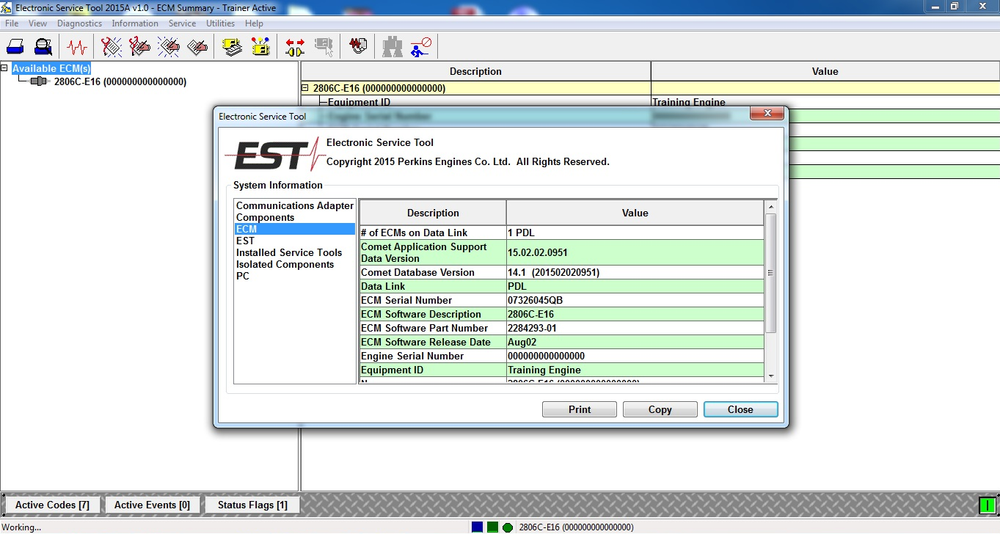 Perkins EST 2015A Electronic Service Tool - All Engines Diagnostics Software -Online Installation Service !