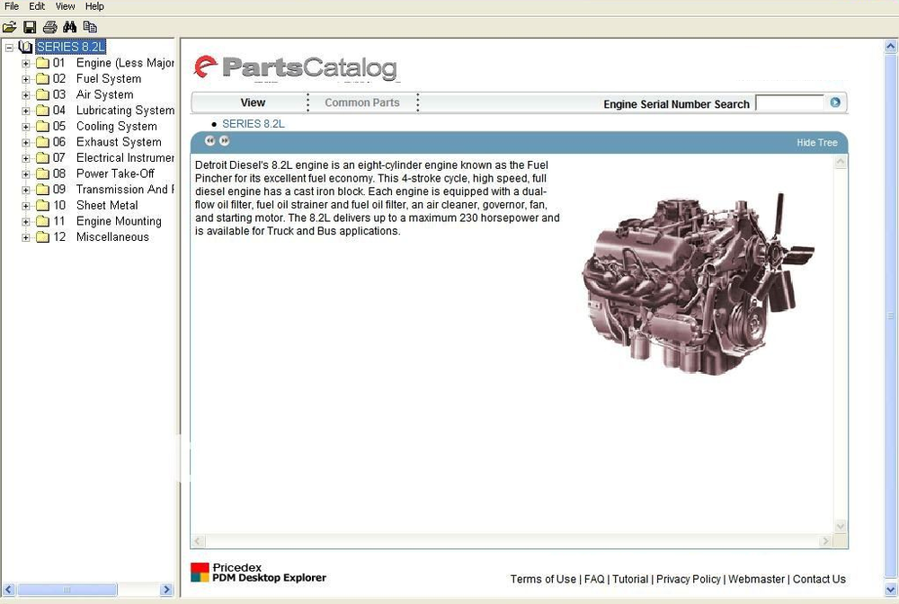 Detroit Diesel Engine Series 8.2L, 50, 55, 60, 2000, 4000 Parts Manual EPC Software Tous les modèles - S 's Jusqu'en 2011