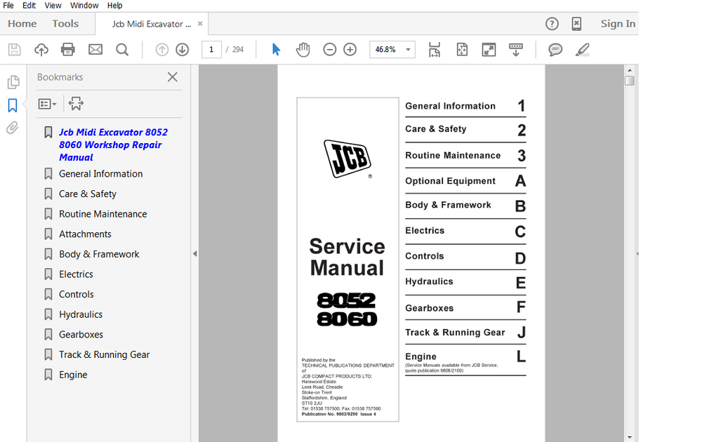 Jcb Midi Excavator 8052 8060 Workshop Service Repair Manual