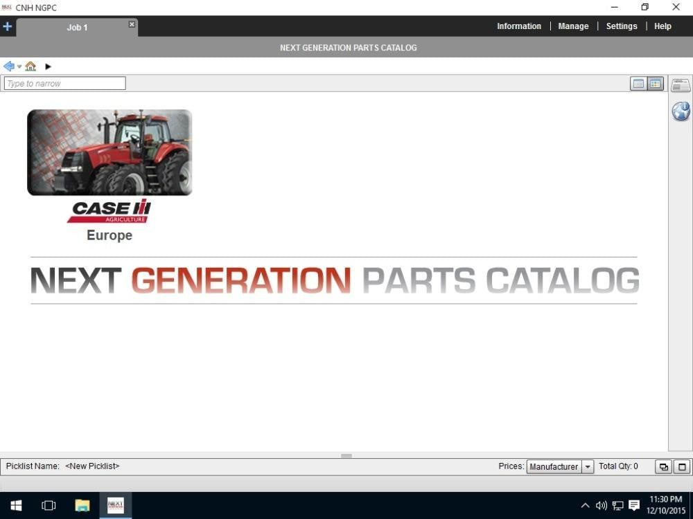 CASE IH Agriculture Europe EPC - Parts Catalog Manual For All Models Up To 2016