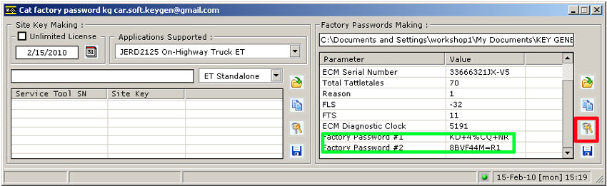 CAT Caterpillar FACTORY PASSWORDS GENERATOR 2008 - For All CAT ET Versions  - All On Highway Models Up To 2008