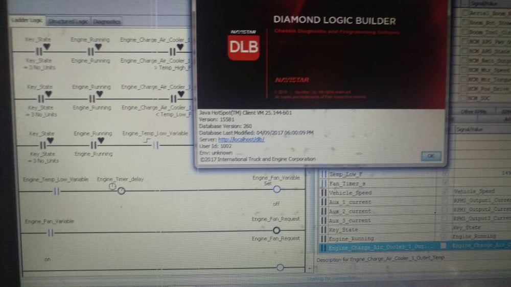 International Diamond Logic Builder (DLB) 2019 Diagnostic Software - 3 - activation de tous les paramètres et options