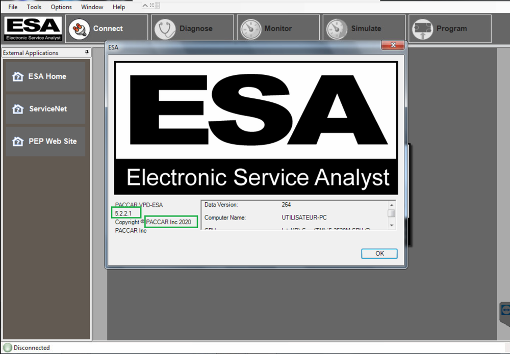 PACCAR ESA Electronic Service Analyst v5.0.0.415 SW Flash files - Server Update Include Paccar Programming Files - Online Installation Service