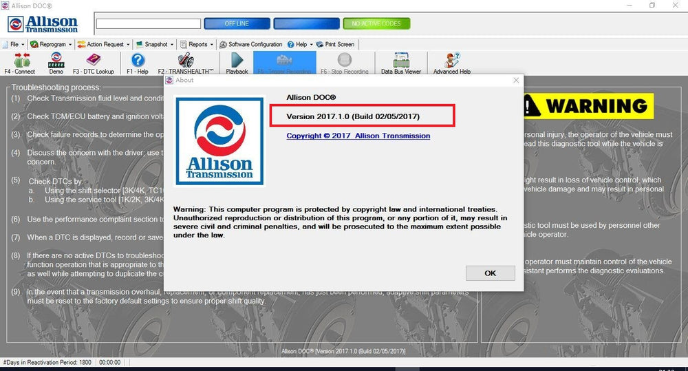 Universal Allison DOC for PC 2017 Diagnostic Software- Latest Version 2017  - Highest Level Activation - Full Online Installation & And Activation