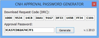 CNH APPROVAL PASSWORD GENERATOR - For New Holland Case IH And More !