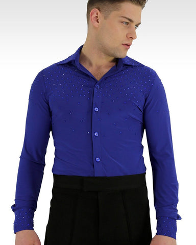 blue latin and ballroom dance shirt