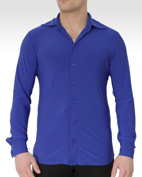blue latin dance shirt