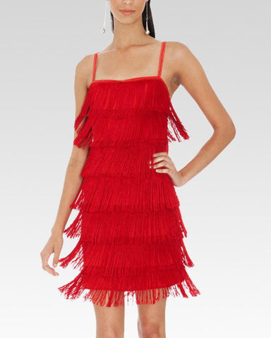 red dance dress with fringes uk