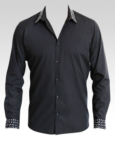 men's black latin and ballroom shirt