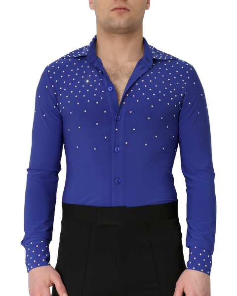 blue latin and ballroom dance shirt uk