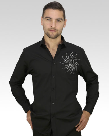 latin dance shirt with rhinestones