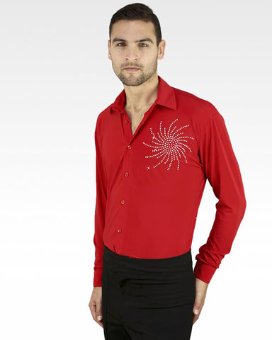 latin ballroom mens dance shirt, ice skating shirt with shorts uk