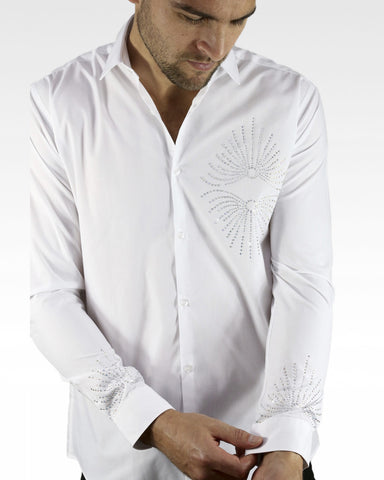 white Mens ballroom shirt