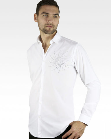 mens white ballroom latin shirt