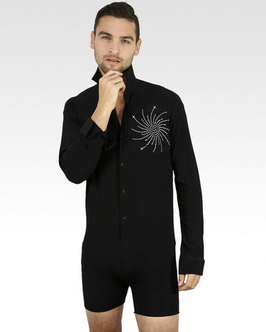 ballroom latin dance shirt for competition, mens ice skating shirt