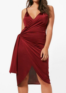 Celine Dance Dress Burgundy - CURVE