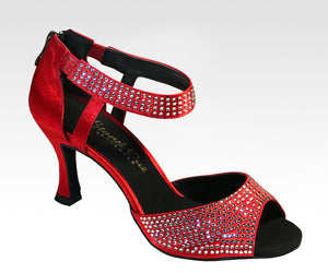 red high heel latin and ballroom dance shoes
