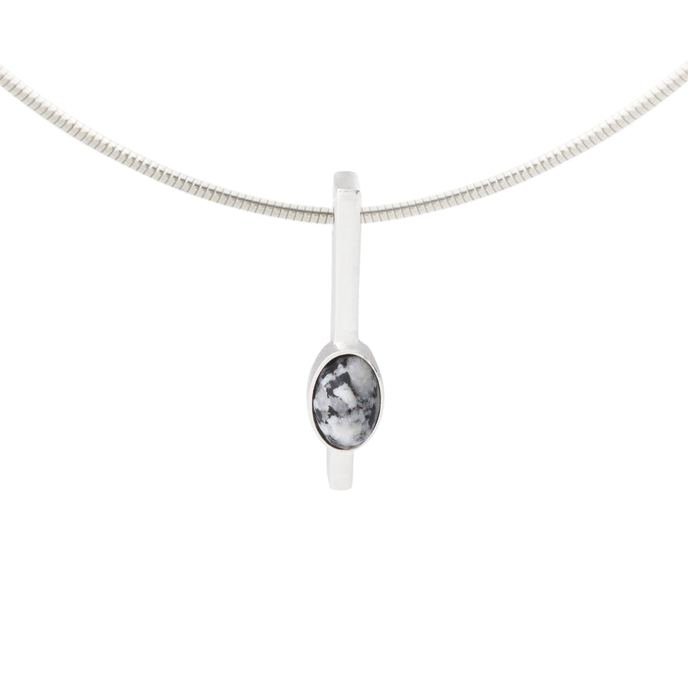 irish necklace grey donegal granite stone and solid silver